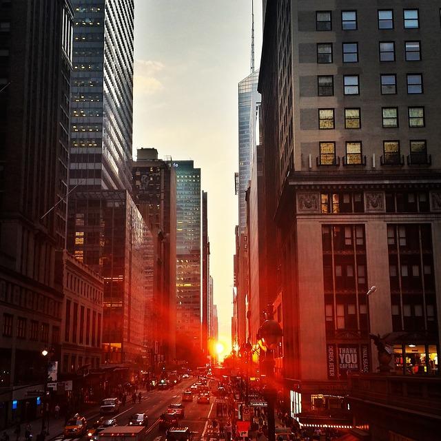 city, manhattan, sunset